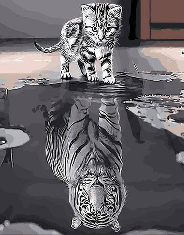 Image of Reflection Cat DIY Painting By Number Kit