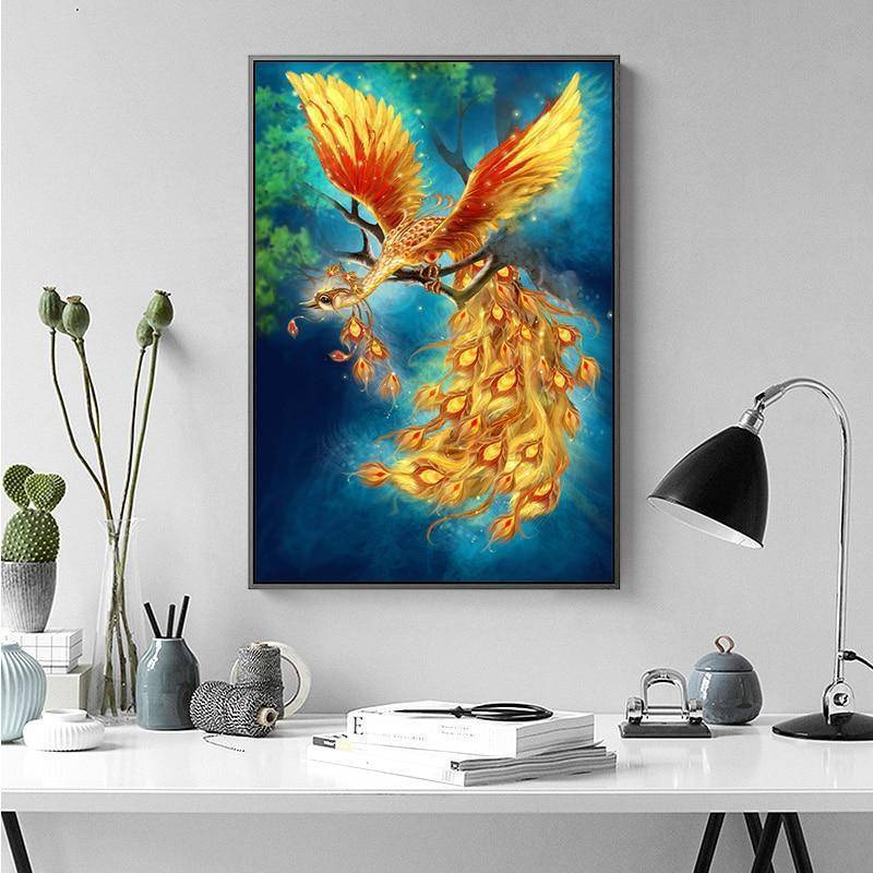 Meian Cross Stitch Embroidery Kits 14CT Phoenix Animal Cotton Thread Painting DIY Needlework DMC New Year Home Decor VS-0011