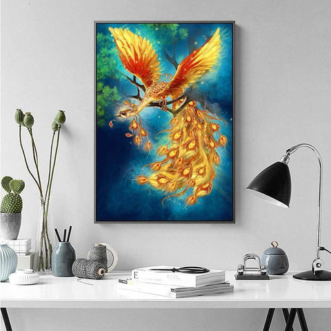 Image of Meian Cross Stitch Embroidery Kits 14CT Phoenix Animal Cotton Thread Painting DIY Needlework DMC New Year Home Decor VS-0011
