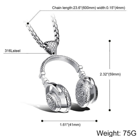 Stainless Steel Music Headphone Pendant Necklaces
