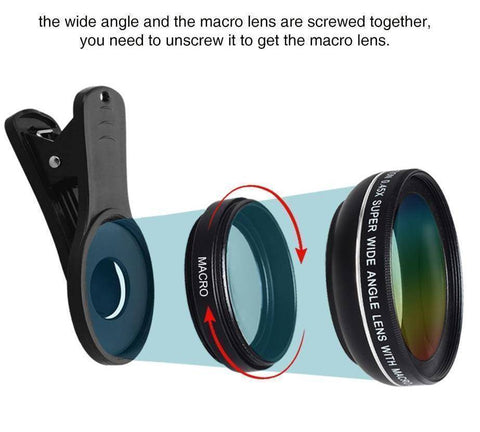 2-in-1 Wide Angle and Macro Phone Lens
