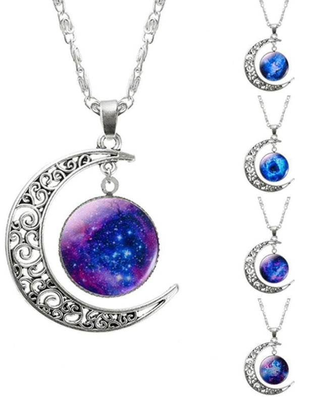 Moon Galaxy Silver Pendant Chain Necklace