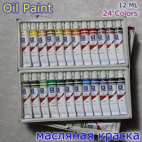 Oil Paint Canvas Pigment Art Supplies 24 Colors Set