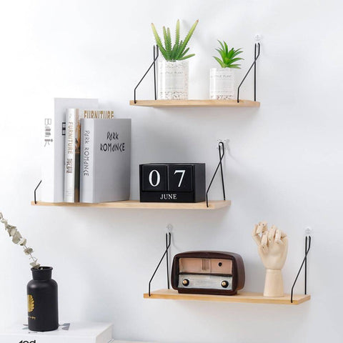 Image of Rustic Bookshelf Wood and Metal Wall Shelves