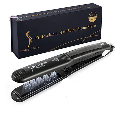 Image of 2 in 1 Steam Hair Straightener and Curler Flat Iron With Vapor Ceramic Tourmaline