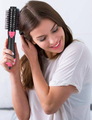 Image of 2 in 1 Rotating Hot Hair Brush Curler and Hair Dryer