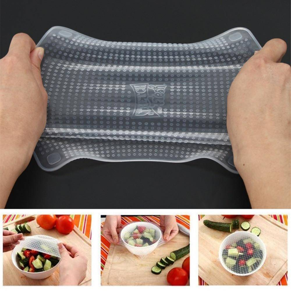 4 pcs Reausable Stretchable Silicone Food Wrap