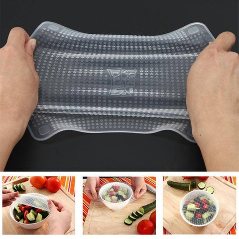 Image of 4 pcs Reausable Stretchable Silicone Food Wrap