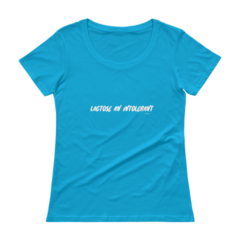 Lactose An Intolerant, Ladies' Scoopneck T-Shirt,t-shirt - verb.ly