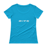 Suck it up, Nige, Ladies' Scoopneck T-Shirt,t-shirt - verb.ly