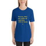 Brexit-Tshirt-Theresa, May you wake up mad itchy with no hands, Unisex T-Shirt-www.verb.ly