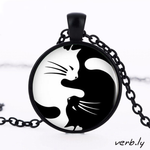 Yin Yang Cat Necklace – Glass Pendant,jewelry - verb.ly