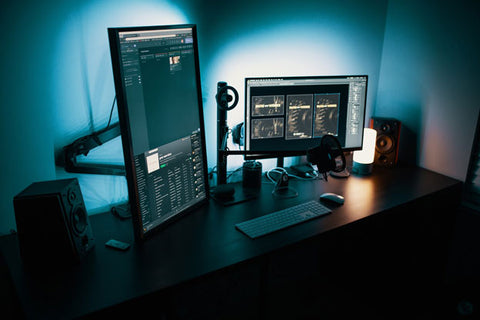 dual monitor desk setup for tech lovers