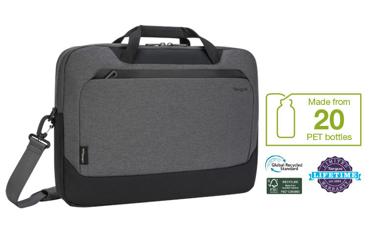 Targus Briefcase bag with a graphic for the 20 plastic bottles used during manufacturing