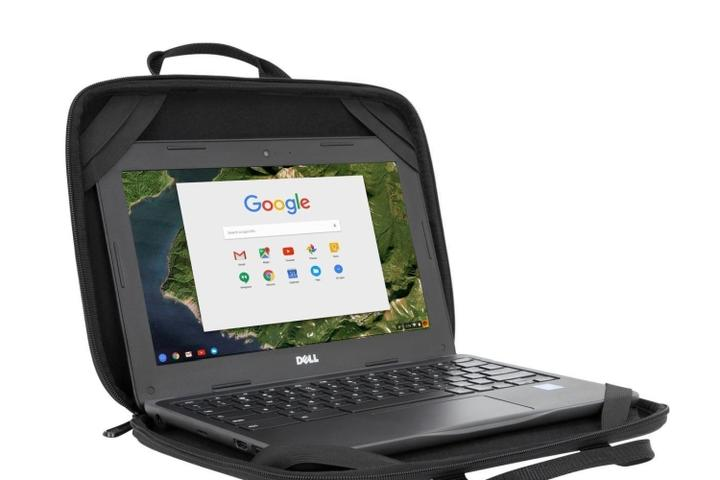 A Dell laptop open to Google inside a protective case