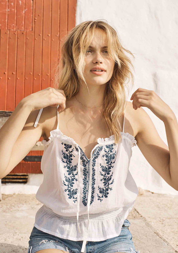 Ivy Embroidered Cami White