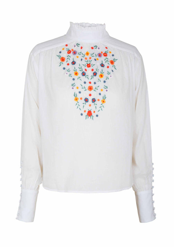 Twiggy Embroided High Neck Blouse White