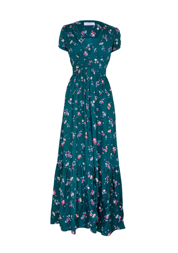 Desert Dandelion Grace Maxi Dress Emerald