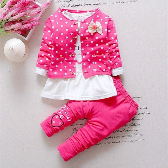 ea865489c345 Baby Girl Clothes Sets Kids 3Pcs Long Sleeve Coat+T-shirt+Pants ...