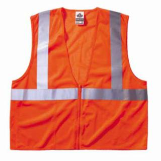 Ergodyne GloWear 8210Z Class 2 Economy Vests with Pocket, Zipper Closure, L/XL, Orange