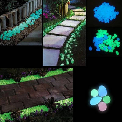 "Glow in the Dark Garden Pebbles - 1 Pack ""50 PCS"""