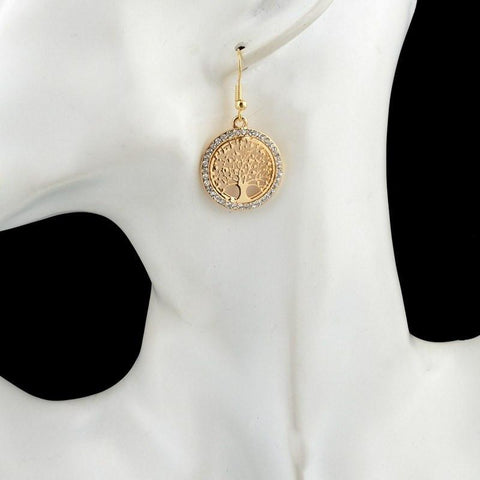 """TREE OF LIFE"" - GOLD EARRINGS W/ RHINESTONES"