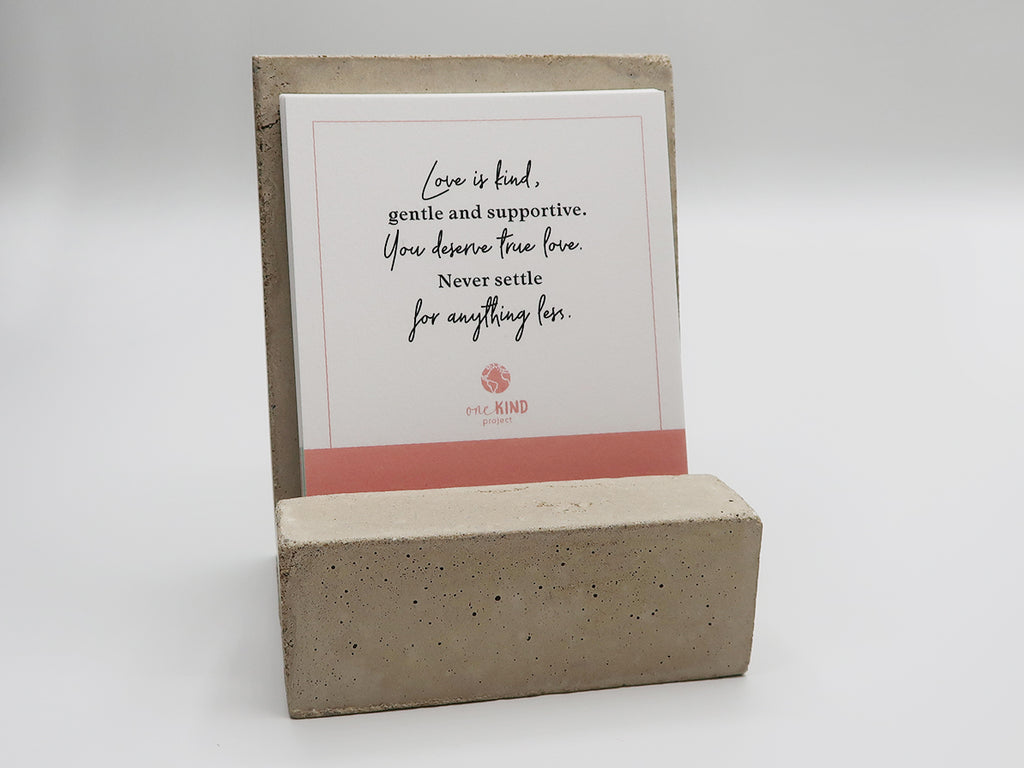 BE ONE. BE KIND. DAILY AFFIRMATIONS CARDS WITH MODERN CEMENT STAND