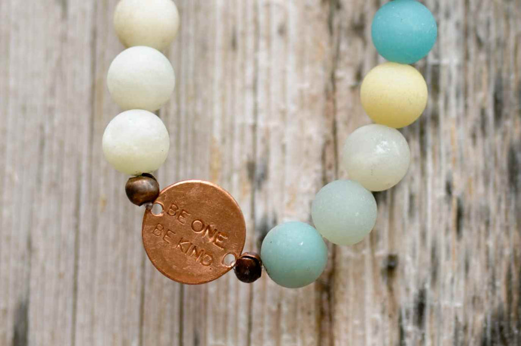BE ONE. BE KIND. AMAZONITE BRACELET