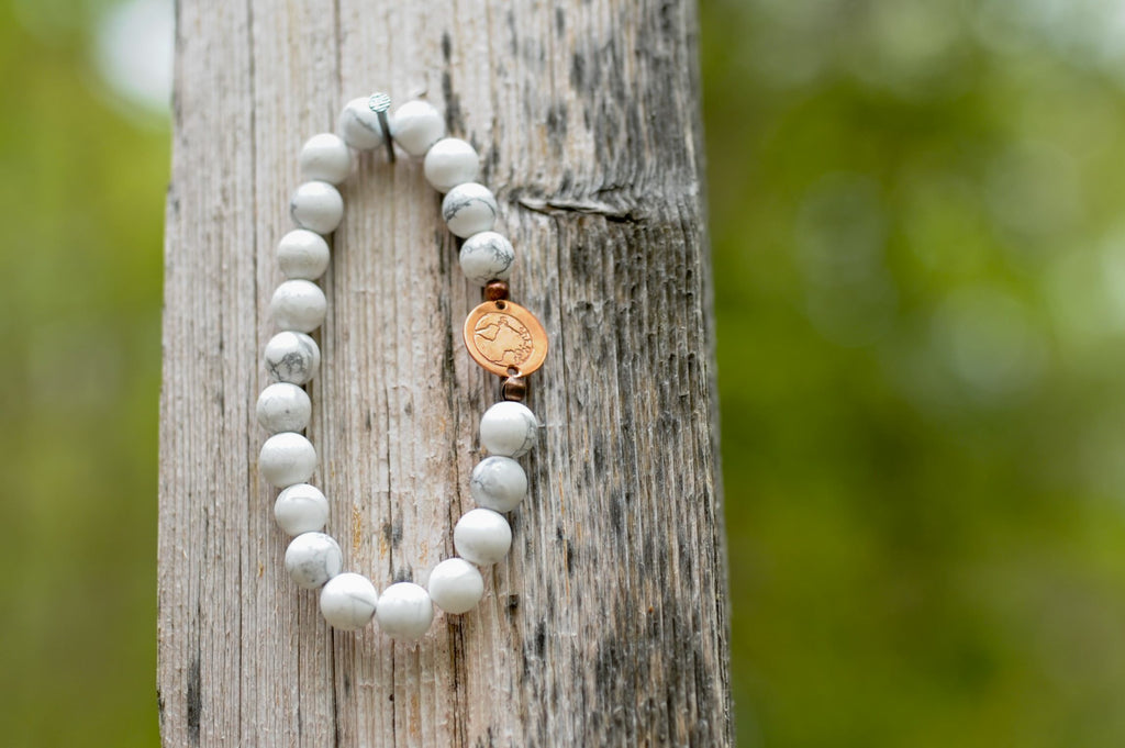 BE ONE. BE KIND. WHITE HOWLITE BRACELET