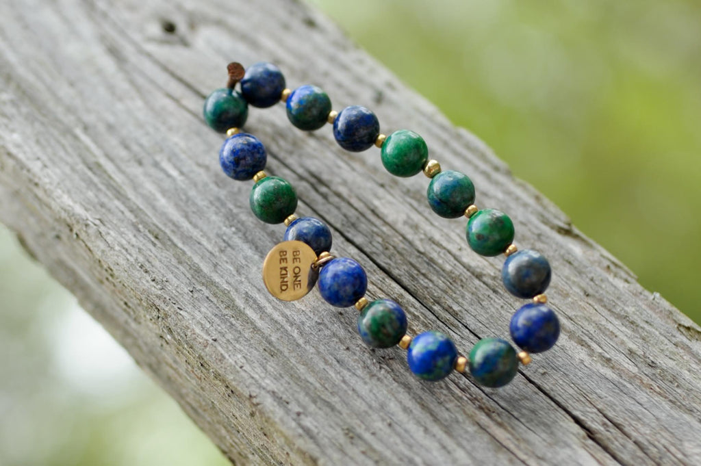 BE ONE. BE KIND. GREEN & BLUE LAPIS BRACELET