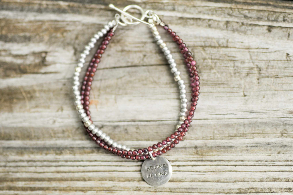 BE ONE. BE KIND. RHODONITE TWO STRAND WITH SILVER GLASS BEADS