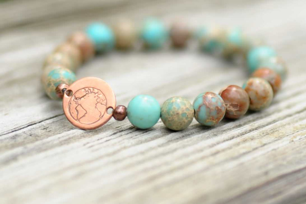 BE ONE. BE KIND. TURQUOISE SEA SEDIMENT JASPER AND AFRICAN TURQUOISE BRACELET