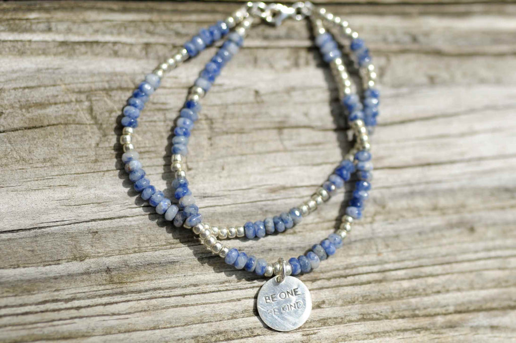 BE ONE. BE KIND. SODALITE TWO STRAND BRACELET WITH SILVER GLASS BEADS