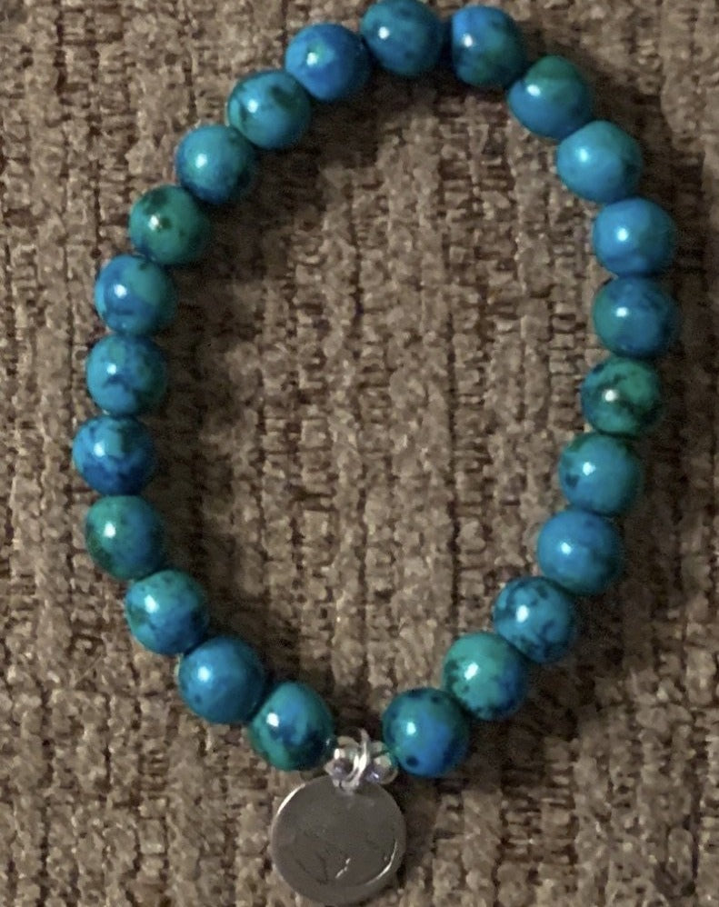 BE ONE. BE KIND. SMALL AQUA LAPIS BEADED BRACELET