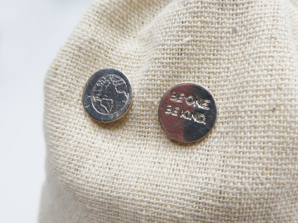 BE ONE. BE KIND. STERLING SILVER EARRINGS