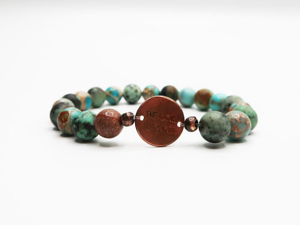 BE ONE. BE KIND. TURQUOISE SEA SEDIMENT JASPER BRACELET