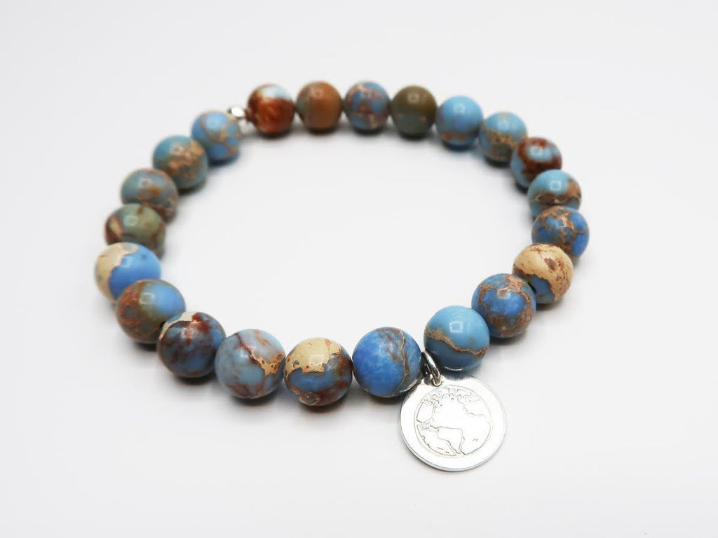 BE ONE. BE KIND. CAROLINA BLUE SEA SEDIMENT JASPER BRACELET
