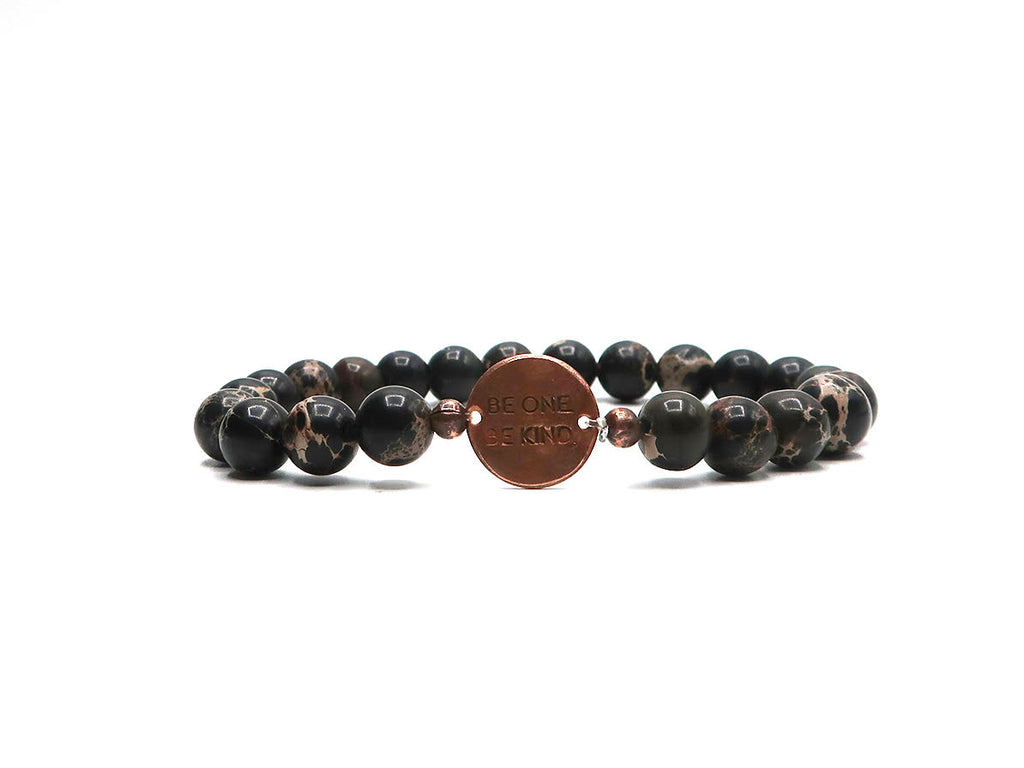 BE ONE. BE KIND. BLACK SEA SEDIMENT JASPER BRACELET