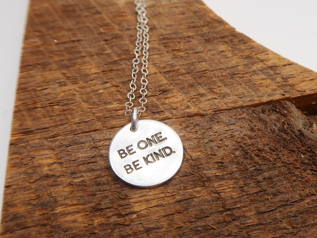 BE ONE. BE KIND. STERLING SILVER CHARM NECKLACE
