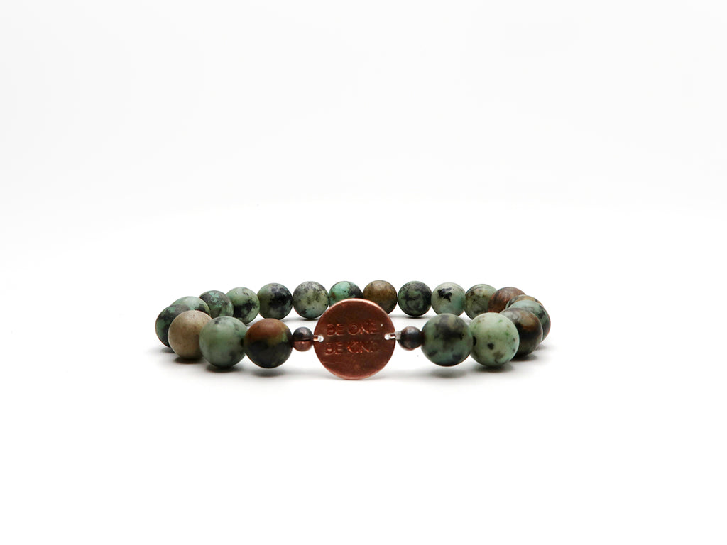 BE ONE. BE KIND. AFRICAN TURQUOISE BRACELET