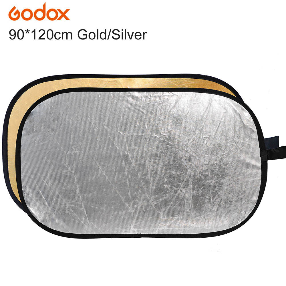 "2 in 1 90*120cm/35"" x 47"" Photography Gold Silver Light Mulit Collapsible Portable Photo Reflector for Studio Flash Lamp"