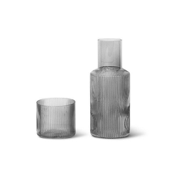 Ferm Living Ripple Carafe Set - Smoked Grey