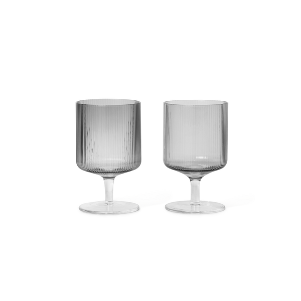 Ferm Living Ripple Wine Glasses (set of 2) - Smoked Grey