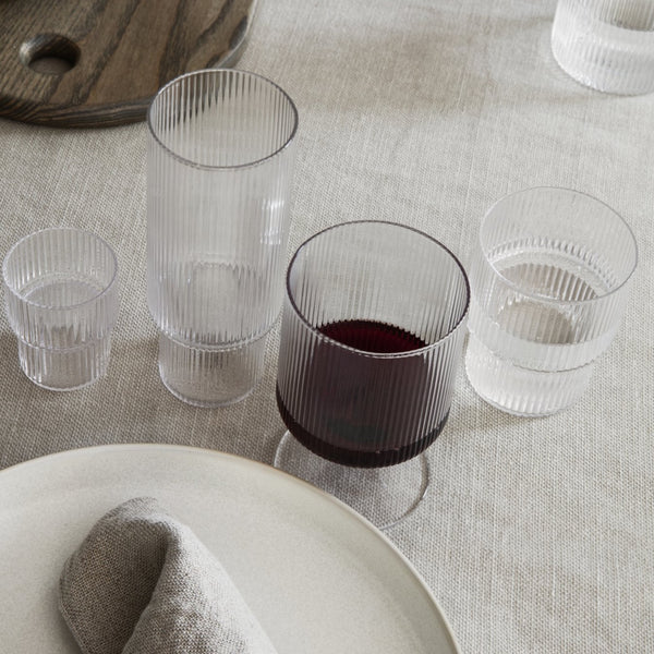 Ferm Living Ripple Wine Glasses (set of 2) - Clear