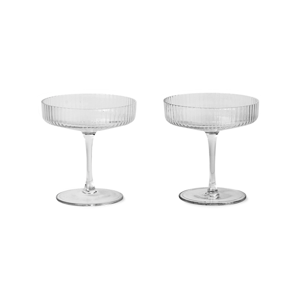Ferm Living Ripple Champagne Saucers (set of 2) - Clear