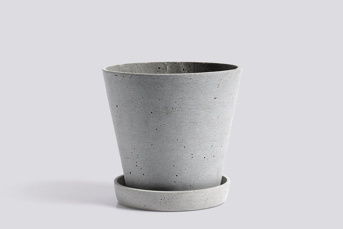 HAY Large Flowerpot with Saucer - Grey