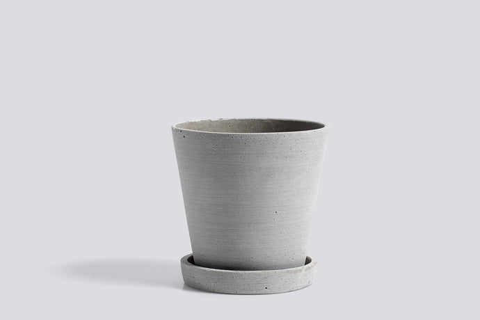 HAY Medium Flowerpot with Saucer - Grey