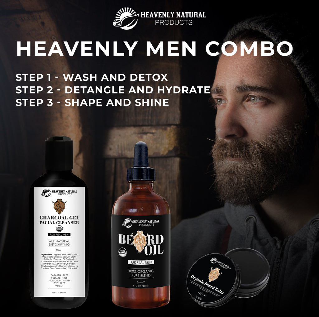Heavenly Men's Combo - All Natural (Charcoal Face Wash, Beard Oil, Beard Balm) - C60 Oil