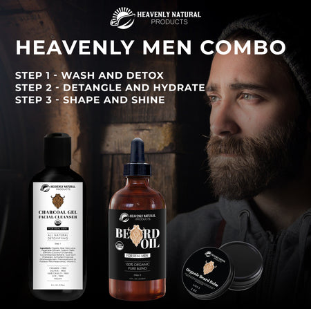 Heavenly Men's Combo - All Natural (Charcoal Face Wash, Beard Oil, Beard Balm) - Heavenly Natural Products