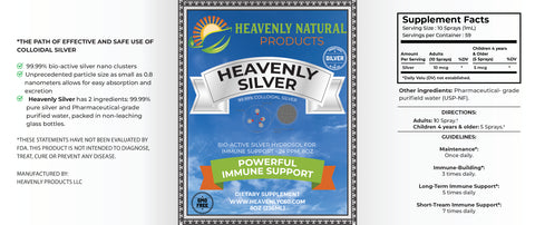 Heavenly Silver Daily Immune System Support - Vertical Spray - C60 Oil
